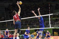 Olympic Games Rio 2016. Rio de Janeiro, Brazil - august 21, 2016: xxxxxxxxxxx during men& x27;s Volleyball,match Russia and USA in the Rio 2016 Olympics Games royalty free stock image