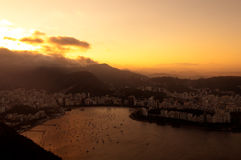 Rio de Janeiro, Brazil, Botafogo Beach. View from Sugarloaf Mountain by Sunset royalty free stock photography