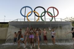Children play in the water in the Olympic park Stock Images