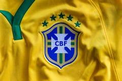 Rio de Janeiro, Brazil - circa February, 2018. - Brazilian Football Confederation emblem on football jersey. royalty free stock images