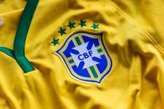 Rio de Janeiro, Brazil - circa February, 2018. - Brazilian Football Confederation emblem on football jersey. stock photography
