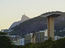Rio de Janeiro. Brazil, City of Rio de Janeiro, Gloria, View of the Monument to the Dead of World War II with Corcovado Mountain and Christ the Redeemer in the Stock Images