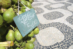 Rio de Janeiro Brazil Coconuts with Price Ipanema Sidewalk Stock Photos