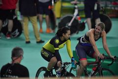 Sports/recreation. Rio De Janeiro, Brazil : Cycling Athlet while competing in Rio Olympic Velodrome, Olympic Games on August 17, 2016 royalty free stock photos