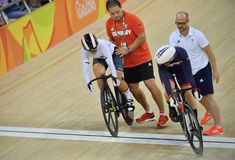 Sports/recreation. Rio De Janeiro, Brazil : Cycling Athlet while competing in Rio Olympic Velodrome, Olympic Games on August 17, 2016 royalty free stock images