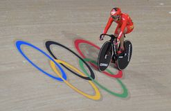 Sports/recreation. Rio De Janeiro, Brazil : Cycling Athlet while competing in Rio Olympic Velodrome, Olympic Games on August 17, 2016 royalty free stock image