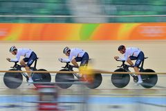 Sports/recreation. Rio De Janeiro, Brazil : Cycling Athlet while competing in Rio Olympic Velodrome, Olympic Games on August 17, 2016 stock photo