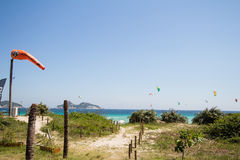 Rio de Janeiro, Brazil - December 26 2016: Pepe Beach. Kite Surf stock image