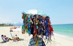 Seller of bikinis - Reserva Beach. Rio de Janeiro, Brazil, December 31, 2018. Seller of bikinis on Reserve Beach in the city of Rio de Janeiro royalty free stock image