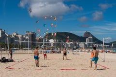 Brazilians Play Footvolley at Copacabana Beach Stock Photography