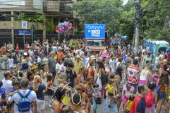 Carnival 2018. Rio de Janeiro, Brazil - february 03, 2018: parade of children's carnival block through the streets of the city in this morning. Last week before Stock Images
