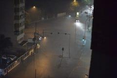 Flood in the city of Rio de Janeiro. Rio de Janeiro, Brazil - february 15, 2018: The region of Maracanã neighborhood where the Rio Joana passes, was flooded stock photo