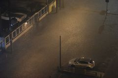 Flood in the city of Rio de Janeiro. Rio de Janeiro, Brazil - february 15, 2018: The region of Maracanã neighborhood where the Rio Joana passes, was royalty free stock photography