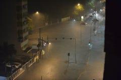 Flood in the city of Rio de Janeiro. Rio de Janeiro, Brazil - february 15, 2018: The region of Maracanã neighborhood where the Rio Joana passes, was flooded royalty free stock photo