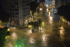 Flood in the city of Rio de Janeiro. Rio de Janeiro, Brazil - february 15, 2018: The region of Maracanã neighborhood where the Rio Joana passes, was stock image