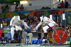 Fencing in  Paralympic games 2016 Stock Photos