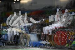 Fencing in  Paralympic games 2016 Royalty Free Stock Photography