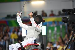 Fencing in  Paralympic games 2016 Royalty Free Stock Photo