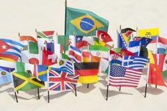 Rio de janeiro Brazil International Flags na praia Fotografia de Stock Royalty Free
