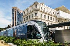 Municipality of Rio de Janeiro introduced VLTs vehicle light rail in 2016, which runs in the downtown district. Rio de Janeiro, Brazil - Jan 11, 2018 Stock Photo