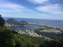 Aerial view of the Rodrigo de Freitas lagoon royalty free stock photography