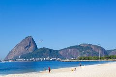 Rio de Janeiro. Brazil - July 21, 2014: Aterro do Flamengo with the Sugarloaf Mountain in the background Royalty Free Stock Image