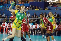 Handball - Pan American Games 2007. Rio de Janeiro, Brazil, July 22, 2007.nPlayer of the Brazilian handball team, during the game between Brazil and Cuba by the stock photo