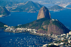Rio de Janeiro. BRAZIL - July 21, 2014: view from Corcovado Mountain, of Sugarloaf Mountain and Botafogo neighborhood Stock Photography