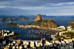 Rio de Janeiro. BRAZIL - July 21, 2014: view from Corcovado Mountain, of Sugarloaf Mountain and Botafogo neighborhood Royalty Free Stock Image