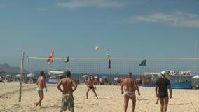 Rio De Janeiro, Brazil- 26, May, 2016: serve in game of volleyball on Copacabana beach in Rio stock video