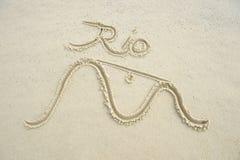 Rio de Janeiro Brazil Message Sand Beach Stock Image