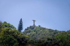 The back of Christ the Redeemer Statue and Corcovado Mountain - Rio de Janeiro, Brazil stock photography