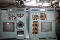 Control Panel inside the old Submarine Museum Riachuelo - Rio de Janeiro, Brazil royalty free stock photography