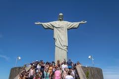 Tourists at Christ the Redeemer Statue - Rio de Janeiro, Brazil stock photography