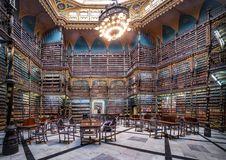 Royal Portuguese Cabinet of Reading interior - Rio de Janeiro, Brazil. Rio de Janeiro, Brazil - Oct 26, 2017: Royal Portuguese Cabinet of Reading interior - Rio royalty free stock photo