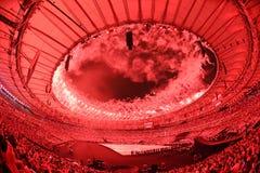 Ceremony of the Olympic Games in Maracana stadium Stock Photo