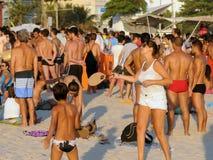Ipanema beach on the first day of summer. Rio de Janeiro - Brazil, , people playing on Ipanema beach on the first day of summer in Brazil royalty free stock image