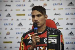 Paolo Guerrero soccer player. Rio de Janeiro- Brazil, press conference of the player of the Flamengo soccer club and the Peruvian soccer team Paolo Guerrero Royalty Free Stock Images
