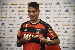 Paolo Guerrero soccer player. Rio de Janeiro- Brazil, press conference of the soccer club player and the Peruvian soccer team Paolo Guerrero Stock Photos