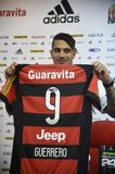 Paolo Guerrero soccer player. Rio de Janeiro- Brazil, press conference of the soccer club player and the Peruvian soccer team Paolo Guerrero Stock Photo