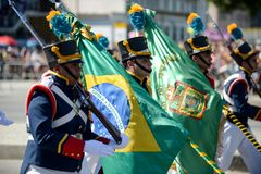 military civic parade celebrating the independence of Brazil Stock Photos