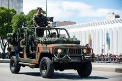 military civic parade celebrating the independence of Brazil Stock Photo