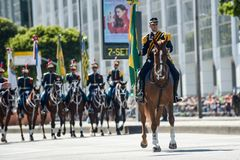 military civic parade celebrating the independence of Brazil Royalty Free Stock Photography