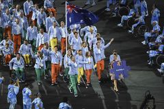 Paralympics Rio 2016. Rio de Janeiro, Brazil - september 07, 2016: opening ceremony of the Paralympics Rio 2016 at Maracana Stadium. delegation from Australia stock photos