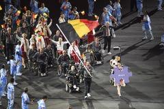 Paralympics Rio 2016. Rio de Janeiro, Brazil - september 07, 2016: opening ceremony of the Paralympics Rio 2016 at Maracana Stadium. Delegation of Belgium royalty free stock photos