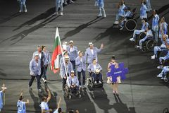 Paralympics Rio 2016. Rio de Janeiro, Brazil - september 07, 2016: opening ceremony of the Paralympics Rio 2016 at Maracana Stadium. Delegation of Bulgaria stock photo