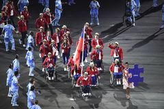 Paralympics Rio 2016. Rio de Janeiro, Brazil - september 07, 2016: opening ceremony of the Paralympics Rio 2016 at Maracana Stadium. Delegation of Chile royalty free stock images