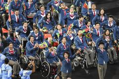Paralympics Rio 2016. Rio de Janeiro, Brazil - september 07, 2016: opening ceremony of the Paralympics Rio 2016 at Maracana Stadium. Delegation of China royalty free stock photo