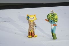 Paralympics Rio 2016. Rio de Janeiro, Brazil - september 07, 2016: opening ceremony of the Paralympics Rio 2016 at Maracana Stadium. Mascot Vinicius e Tom stock images