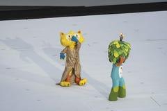 Paralympics Rio 2016. Rio de Janeiro, Brazil - september 07, 2016: opening ceremony of the Paralympics Rio 2016 at Maracana Stadium. Mascot Vinicius e Tom royalty free stock photo
